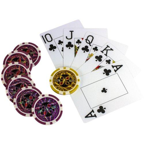 Maxstore Ultimate Pokerset mit 1000 hochwertigen 12 Gramm METALLKERN Laserchips, inkl. 2x Pokerdecks, Alu Pokerkoffer, 5x Würfel, 1x Dealer Button, Poker, Set, Pokerchips, Koffer, Jetons - 8