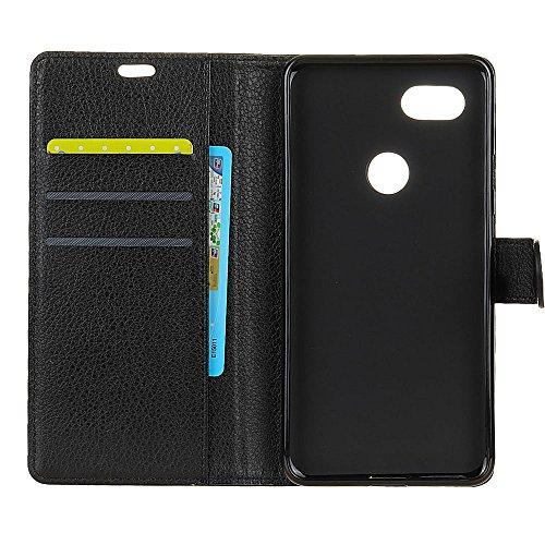 Klassische Litchi Texture Premium Ledertasche Bookstyle Folio Stand Case mit Geldbörse Beutel Funktion Kartensteckplätze für Google Pixel XL 2 ( Color : Blue ) Black