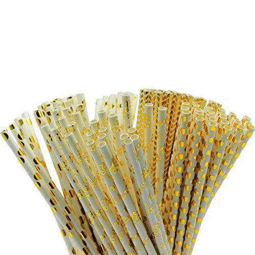 (Kail 125PCS Papier Trinkhalme Lebensmittelqualität Gold Folie Papier Stroh biologisch abbaubar Stroh für Geburtstage, Weihnachten, Hochzeiten, Baby Duschen, Feiern und Partys)