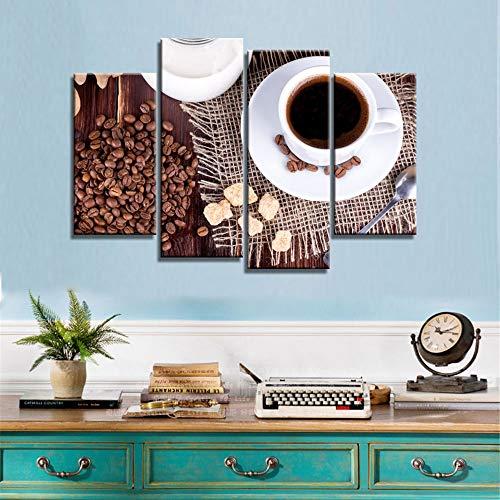 Wallswot 3D Wallpapers Prints Malerei Wandkunst 5 Panel Kaffeebohnen Bilder Modulare Kreative Leinwand Poster Moderne Dekoration Nacht Hintergrund-200Cmx140Cm