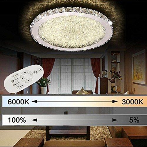 ETiME Deckenleuchte Kristall LED Deckenlampe Rund Wohnzimmer Schlafzimmer Esszimmer Lampe (54W Ø62cm dimmbar) (Kristall-deckenleuchten)