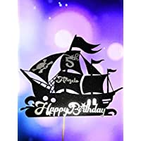 Happy Birthday Pirate Ship Glitter Cake Topper. Birthday Party. Personalised with name age. Skull flag decorated. 2 Colour cake topper.