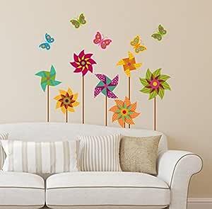 Amazon Brand - Solimo PVC Vinyl Bedroom Wall Sticker (Multicolour, Pinwheel, Ideal Size on Wall: 87 cm x 89 cm)