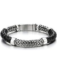 92b8fdbb24b COOLSTEELANDBEYOND Bracelet en Cuir Tressé pour Hommes Femmes - Noir  Véritable Cuir et Acier Inoxydable Chaîne