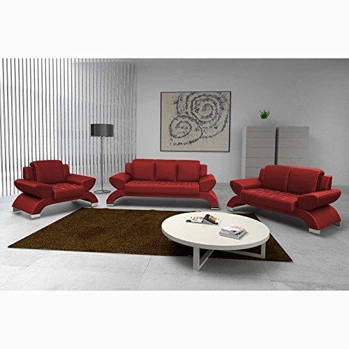 JUSTyou ORION Wohnzimmerset Polstergarnitur Sofagarnitur (3+2+1) Kunstleder Rot