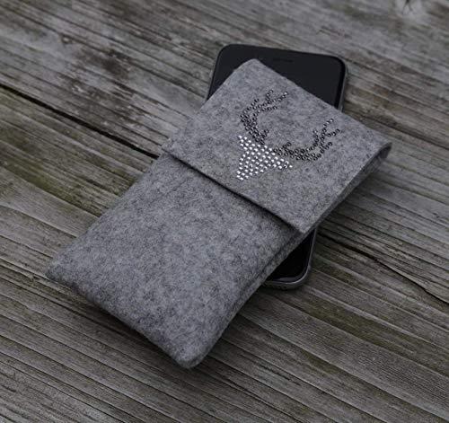 zigbaxx Handyhülle Handytasche Filz für iPhone 8 7 6 X Xs, iPhone 8 plus 7 6 Xs Max XR Smartphone-Hülle Wood Star Wollfilz Hirsch pink anthrazit beige grau braun Geschenk Frauen Mann Jäger Weihnachten -