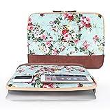 iCasso Laptop Sleeve für 12-13.3 Zoll MacBook Pro, MacBook Air, Notebook, Leder Nähte Weichen Canvas Computer Tasche Tasche (Flower)