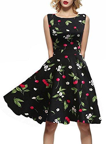 ihot Elegant Damen 1950er Retro Vintage Floral Party Cocktailkleider Abendkleider Sommerkleid...