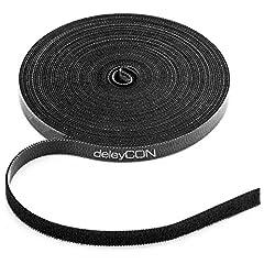 deleyCON 10m Kabelbinder Klettbandrolle 10mm