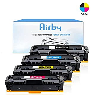 Airby® Compatible HP 410A CF410A CF411A CF412A CF413A Toner Cartridge for Used in HP Pro M452dn M452nw M452dw, MFP M477fdn M477fdw M477fnw Printers (4 Pack - Black + Cyan + Yellow + Magenta)