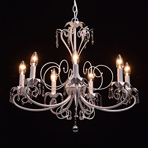 Antiker Kronleuchter 7-armig perlweißes Metall Kerzen 90cm - 4