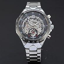Reloje Hombre,Xinan Rusia Esquelético de Plata Relojes Automáticos Acero Inoxidable