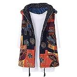 TianWlio Jacken Parka Mäntel Herbst Winter Warme Outwear Blumendruck mit Kapuze Taschen Vintage Übergroße Mantel Weste (S, Gelb)