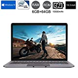 Wokee Ultradünne Quad-Core Laptop1920 * 1080 IPS (13,3 '' Zoll) Tablet PC Intel HD Graphics 750MHZ-eMMC 64 GB Windows 10 Home Silber-6G + 64G