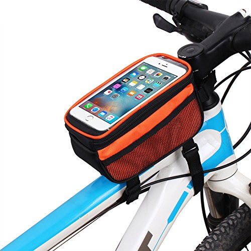 Riiya Bike Package Touch Screen Mountainbike Satteltasche auf dem Paket-Beutel-Handy-Beutel Reitausr¨¹stung 5,7 Zoll Orange
