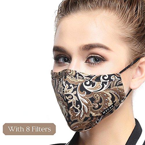 Lyanty Atemschutzmaske gegen Umweltverschmutzung, Militärqualität, N99, waschbar, aus Baumwolle, mit 8 Ersatzfiltern, mehrfarbig
