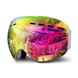Gafas de Esquí Lente Cilíndrica Doble Con Amplio Campo Visual Gafas Snowboard Espejo Antiniebla y Antivaho Máscara Nieve Snow para Esquiar Deporte Alpino Adecuadas a Adultos Hombre Mujer y Niños