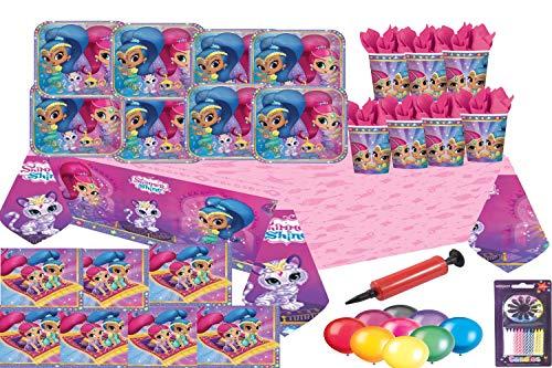 Schimmer und Glanz Party Supplies Mädchen Geburtstag Teller Cups Servietten Tisch decken 32 Gäste mit kostenlosen Ballons BALLONPUMPE KERZEN