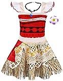 AmzBarley Moana Costume Vestito Bambina Ragazza Carnevale Cosplay Abito Ragazze Bimba Festa di Fantasia Compleanno Partito Halloween Cerimonia Senza Maniche Corte Abiti Vestire