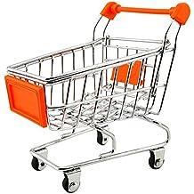 Carrito de compras - SODIAL(R) Mini carro de compras para los ninos 11cm x 8cm x 11.5cm naranja