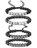 Finrezio 4 PCS Nero Braccialetti di Perline per Uomini Donne Pietra Naturale & Lava Stone Set di Bracciali Diffusori Bracciale per Aromaterapia
