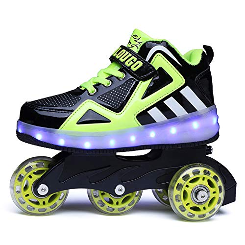 Scarpe da Ruota per Ricarica USB per Bambini con luci Scarpe da Skateboard a LED Scarpe da Tennis per Regalo per Principianti per Bambini Unisex per Bambine,B,34EU