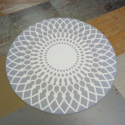 Stylish Schwarz-Weiß-Runde Teppich Wohnzimmer Couchtisch Großer Teppich ( Farbe : Grau , größe : 100CM )