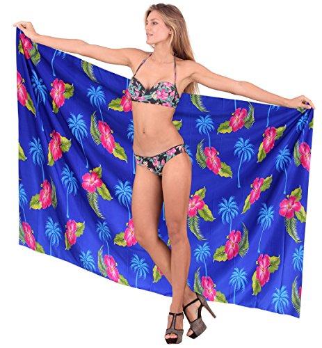 La Leela Hibiskus Badeanzug Rock Aloha Bikini Rock verschleiern uns 3x blau Sarong (Leela La Hibiskus)