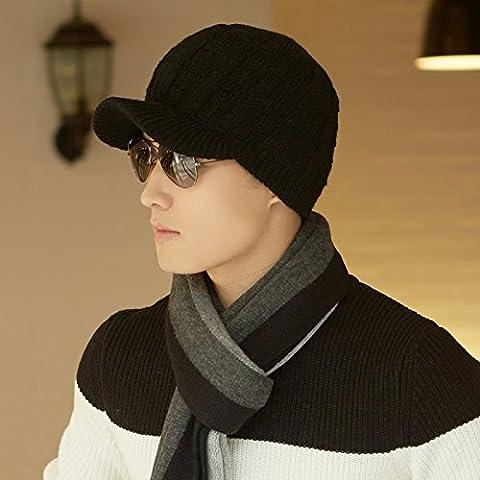 YangR*El Sombrero de invierno plaid temperamento marea tejer tejer sombrero hat cálido invierno gruesas tapas de protección del oído , y Color