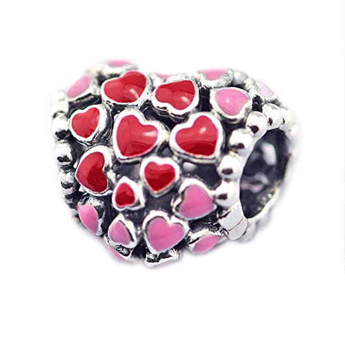 Cooltaste san valentino, burst of love rose cuore rosso argento 925 diy adatto per originale pandora bracciali charm fashion jewelry