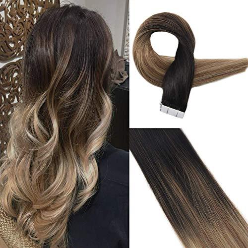 Easyouth Haarverlängerung Echthaar Ombre Tape 50g 20 Zoll Farbe #1B Aus Schwarz Fading To #8 Aschbraun Fading To #22 Mittlere Blondine Brazilian Hair Extensions Tape Extensions Echthaar Hairlady -