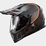 LS2 MX436 Abenteuer Pioneer Element Doppel Sonnenblende Motorrad Helm Motocrosshelme - Mattschwarz Titan XXXL (65-66cm)