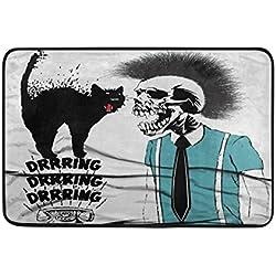 Alfombrilla de baño, Funny Cat con Calavera Hombres impresión Antideslizante Anti Molde fácil seco Felpudo Alfombra para habitación de Ducha baño Puerta Interior al Aire Libre 23x 15cm