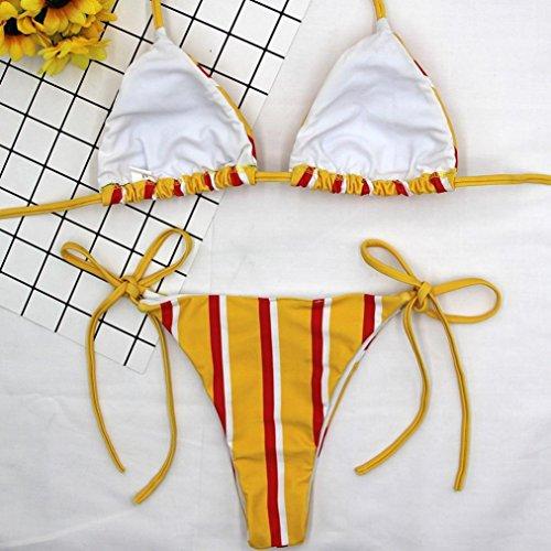 Witsaye Bikini Lovers Costumi Spiaggia Costumi da Bagno Sexy Casuale Banda Bendare Costumi da Bagno Donna Push Up Reggiseno G-string Capestro Estate Beachwear Donna Sexy Giallo