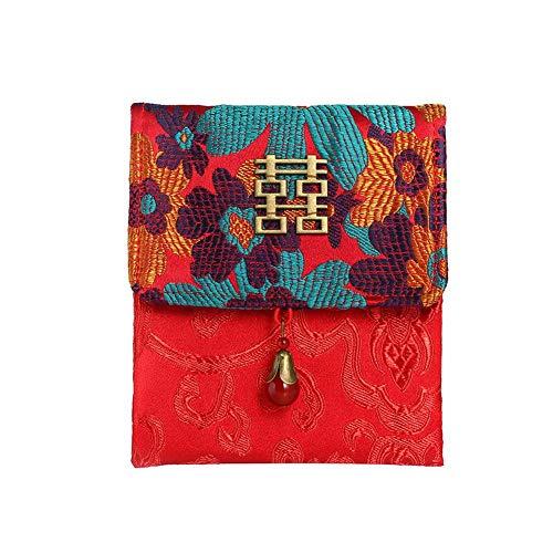 Jianghui Roter Satin bestickter Brokat-Briefumschlag für chinesische Hochzeit und chinesische Neujahr, Sunflower -