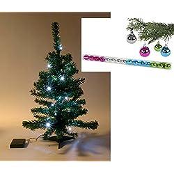 Künstliche Tanne inkl. LED Lichterkette und bunten Baumkugeln - fertig geschmückter Weihnachtsbaum