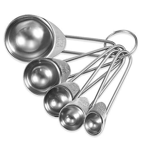Genven Neue Küchenhelfer 5 Teile/satz Edelstahl Kaffee Spice Löffel Backen Werkzeug Set Messlöffel (Silber)