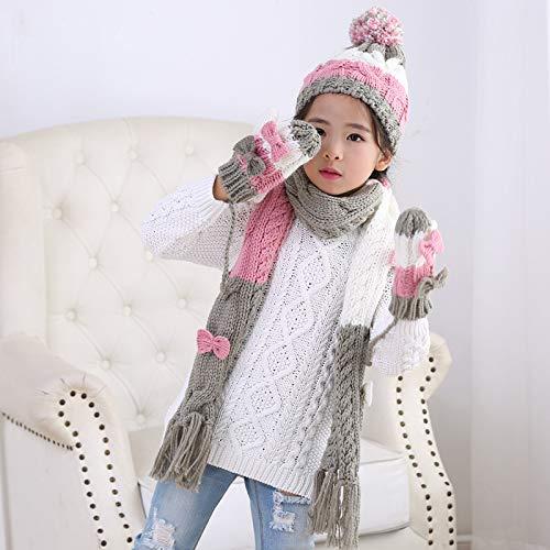 MINMINA Schal zweiteilig Kit Kinder Schals Hut dreiteilige kleine und mittlere Mädchen Baby-Set Herbst und Winter warme Zweiteilige Anzug mit Kapuze, rosa und weiß, 3-12 Jahre alt - Ash Winter Hut