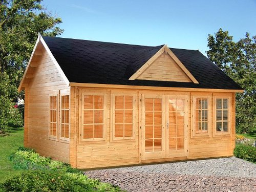 Gartenhaus Clara Blockhaus 550cm x 400cm - 44mm Gartenlaube Holzhaus Holzlaube
