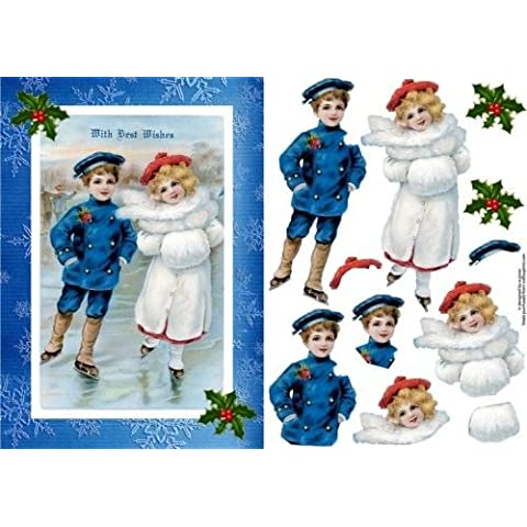 Motivos navideños patinadores con ilustraciones por Wendy Jones