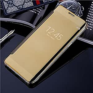 Original Mokons Frount Glossy And Matte Mirror Flip Cover For Samsung Galaxy S6 Edge (Gold)