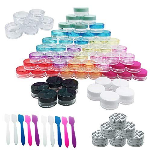 Woohome 60 Pz 5G Bote de Plástico Tarro Vacío Contenedor con Tapa y 10 Pz Minirremolques, Maquillaje de Plástico Tarros para Cremas Muestra de Almacenamiento (Redondo