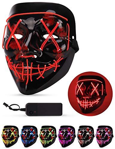 AnanBros Halloween Maske, LED Purge Maske im Dunkeln Leuchtend, Halloween Purge Maske 3 Beleuchtungsmodi für Kostümspiele Cosplays Feste und Partys - (Warme Kostüm)