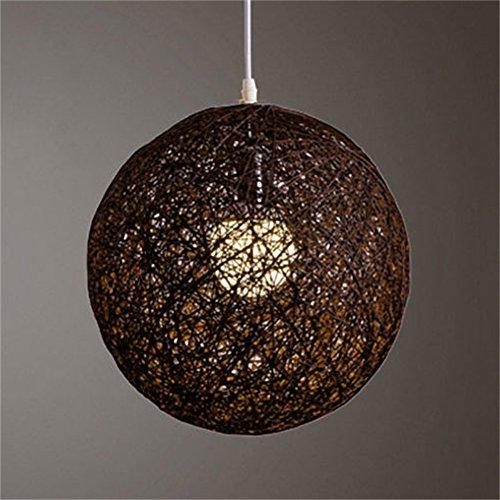 LanLan Lanternes d'extérieur Rond concis tissés à la Main en rotin de Vigne Boule Pendentif Abat-Jour lumière Abat-Jour Accessoires de lumière (15cm de diamètre) Marron