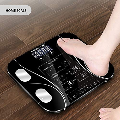 ZUEN Body Index Elektronische Intelligente Waagen Bad Körper Körperfett Bmi Scale Digital Menschliches Gewicht Mi Skalen Boden LCD Display,Black (Bmi-skala)