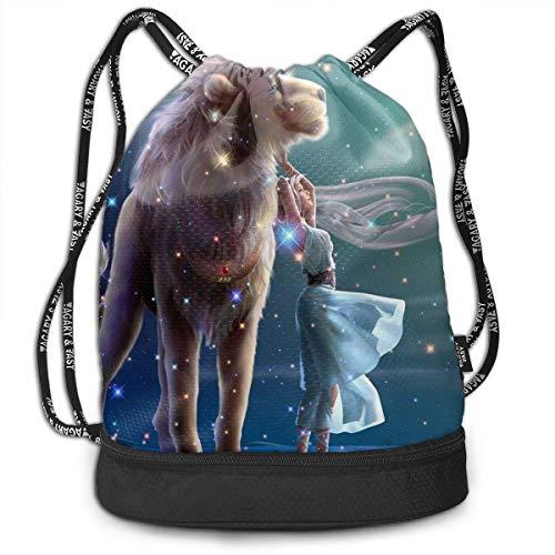 NGDUTZ Men & Women Waterproof Large Storage Drawstring Backpack - Leo Girl Cinch Backpack Sackpack Tote Sack for Gym Hiking School