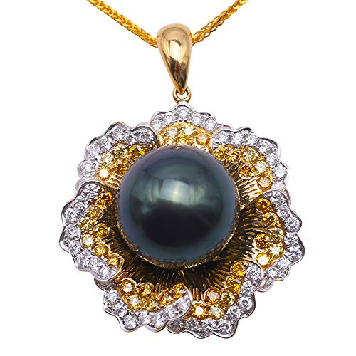 jyx Perle 18K Gold diamond-inlaid 13,5mm Pfau Grün Rund Tahiti Pearl Anhänger Halskette ()