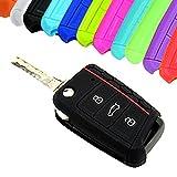 Carcasa de llave de Muchkey para Golf 7GTI Mk7, Skoda Octavia A7, Seat Leon, Volkswagen Golf VII. Funda de silicona para las llaves del coche de 3botones, funda protectora, 1pieza, azul