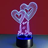 WAOBE Double Heart Balloon I LOVE YOU 3D Optical Illusion Touch Botton 7 Colori che cambiano LED Night Light Lampada da tavolo, regalo romantico per amante, moglie, fidanzato o fidanzata