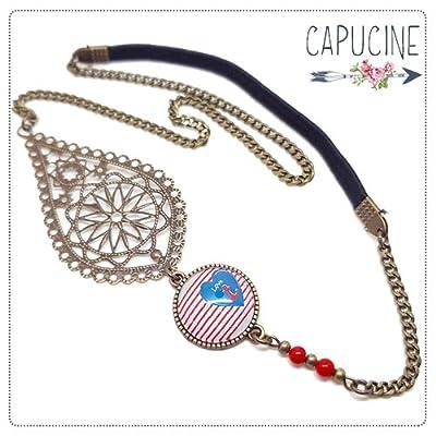 Headband avec Cabochon Verre Rayé Main Coeur Ancre, Rouge Blanc et Bleu, Estampe et Chaîne Bronze, Accessoire Cheveux avec Élastique